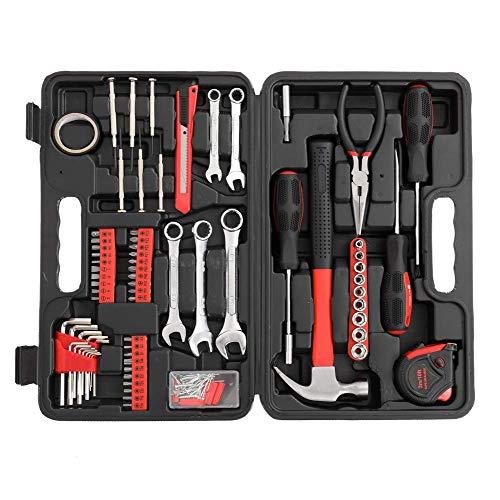 HAOKAN Kit de herramientas para el hogar de 148 piezas, kit de herramientas manuales de reparación del hogar con caja de herramientas portátil, juego de destornilladores rojos