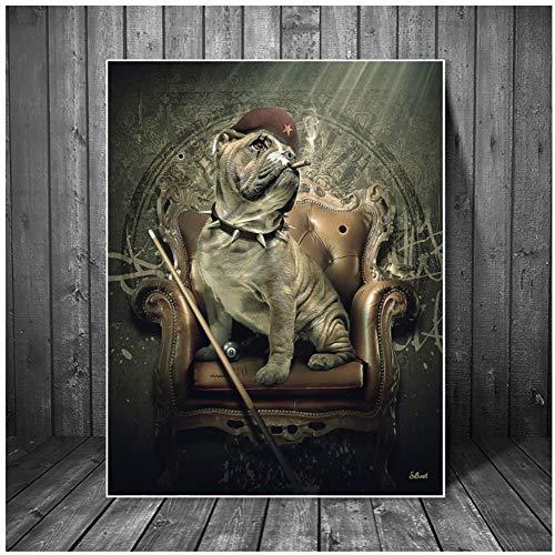 Dubdubdmafia Hund Sitzen Auf Sofa Mit Billard Queues Kunstplakat Und Druckt Wandbild Home Decor Leinwand Malerei Für Wohnzimmer -20X28 In No Frame