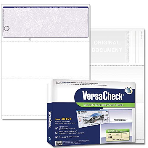 VersaCheck UV Top Secure (DNA) Checks - 500 Blank Business Voucher Checks - Blue Classic - 500 Sheets Form #1000 - Check on Top