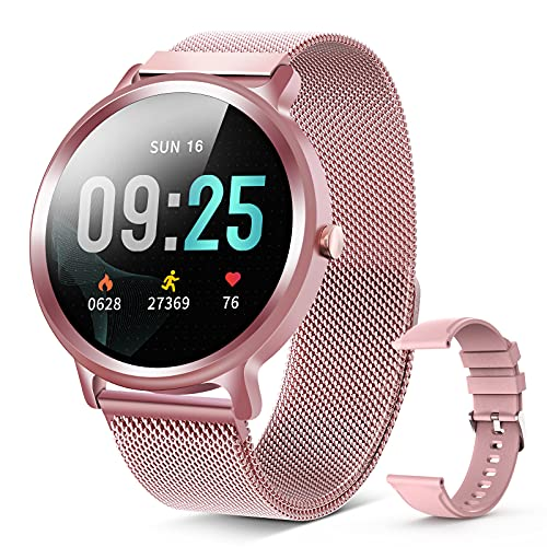 """Smart Watch, 1.28"""" Fitness Tracker with Real-time Heart Rate Monitor, IP68 Waterproof, Pedometer with Sleep Monitor, Exclusive 4 Dials+1Custom Dial Watch for Android iOS Phones"""