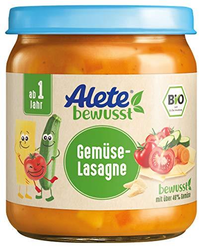 Alete bewusst Bio-Gläschen Gemüse-Lasagne, Menü ab 1 Jahr, 6er Pack (6 x 250 g)