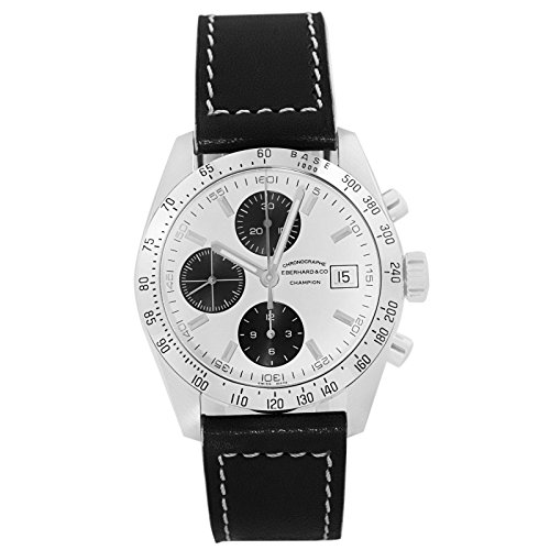 Eberhard & Co. Champion Chronograph Automatic Date Stainless Steel 31044.11 Mens Watch with Black Leather Band