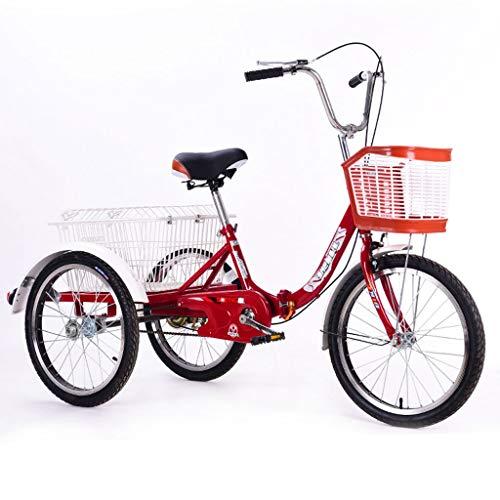 ZNND Bicicletas reclinadas Triciclo para Adultos con Cestas, 3 Ruedas Senior Wheel Cargo Bicicleta, Bicicleta De Triciclo Plegable con Marco De Aleación para Personas Mayores Mujer