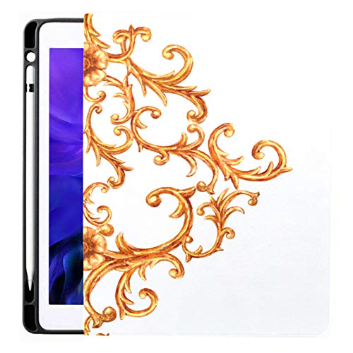 Ipad Pro 12.9 Case 2020 & 2018 With Pencil Holder Baroque Style Gold Element Hand Smart Cover Ipad Case, Supports 2nd Gen Pencil Charging,case For 2020 Ipad Pro 12.9 Cover With Auto Sleep/wake