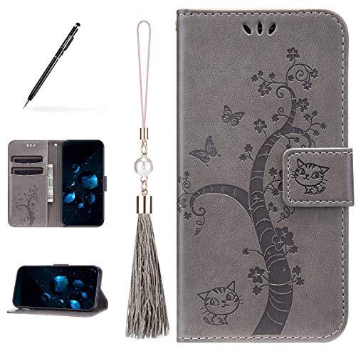 Uposao Kompatibel mit Huawei P30 Lite Hülle Leder Katze Baum Muster mit Quaste Anhänger Hülle Flip Schutzhülle Brieftasche Handyhülle Wallet Bookstyle Case Magnet Kartenfach,Grau