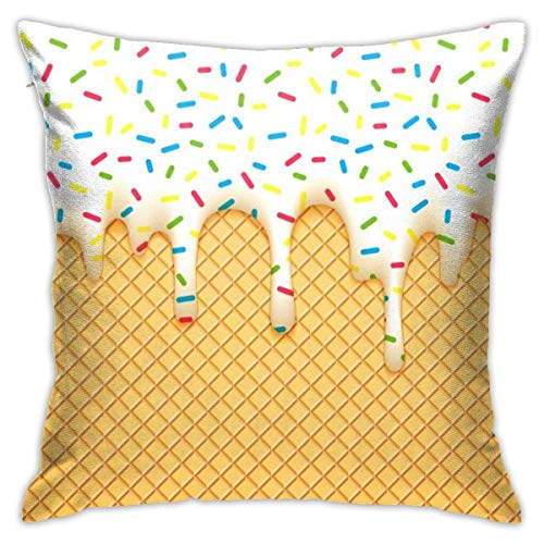 wteqofy Ice Cream Throw Pillow Cover 18'X18', Double Side Design Bolster Pillowcase, Decorative Cushion Pillow Case for Car Sofa Theme Brithday Party Bedroom Decor Kid Girls Boys