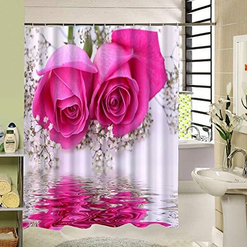 Nobrand reflectie roze bloem douchegordijn badkamer waterdicht meeldauwbestendig polyester stof
