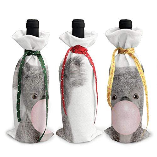 3 fundas para botella de vino de Navidad, gnomos de Navidad, cubierta para botellas de vino, decoración de Navidad, goma de mascar bebé koala