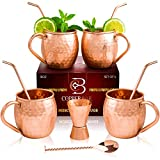 Moscow Mule Copper Mugs - Set of 4 - 100% HANDCRAFTED Pure Solid Copper Mugs - 16 Oz Gift Set with...