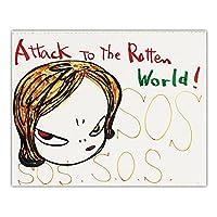 zkpzk 奈良美智《腐った世界への攻撃!》漫画の日本の帆布油絵美的芸術絵壁の装飾家の装飾-60X70Cmx1フレームなし