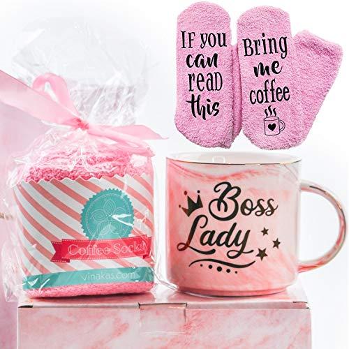 "VINAKAS Boss Lady Gift Set - 12oz Gold Pink Ceramic Marble. Boss Mug Reads "" BOSS LADY "" - Funny gifts for women"