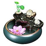Equipo para el hogar Fuente de interior Fuente de agua de cerámica pequeña Decoración Tanque de peces Fuente de interior Decoración de humidificación Fuente de agua de mesa interior (Color: Tamaño