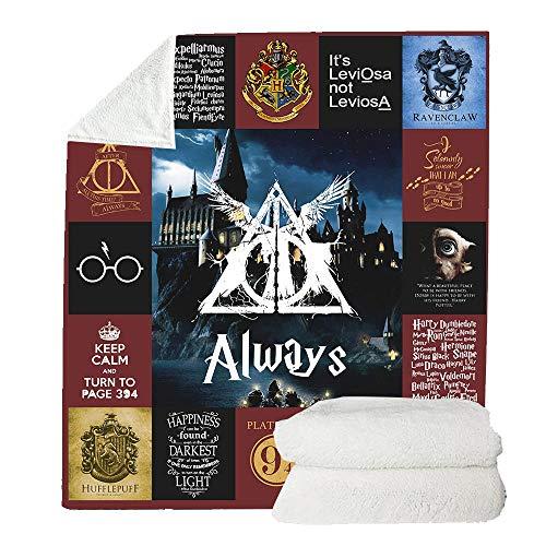 FWL L'autunno e l'inverno Spesso Coperte per Adulti Bambini, Digitale 3D di Harry Potter Stampata Coperta del Panno Morbido del copriletto Sherpa Coperta per Bed And Sofa,Color3,150 x 200