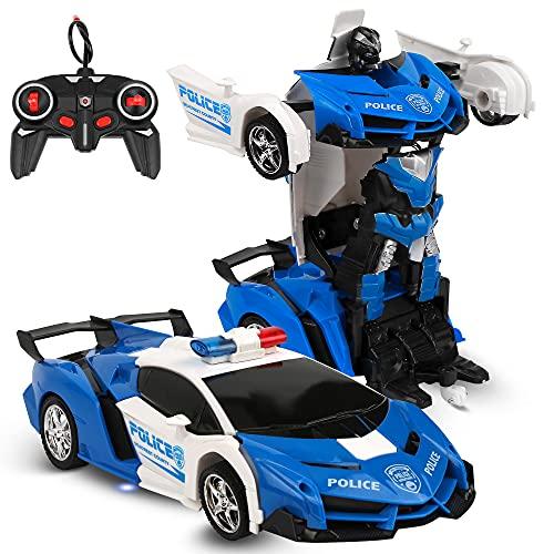 Ferngesteuertes Auto, Ferngesteuert Auto Transformer Roboter Kinder, 360 °Drehung Bremsungs Wiederaufladbar RC Auto mit Fernnedienung Radio Ferngesteuerter High Speed Spielzeugauto Rennfahrzeug