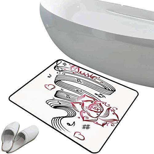 Rutschfeste Badezimmermatte Dekor Weicher, rutschfester Badteppich Bleistiftzeichnung Romantisches Sanduhr-Symbol der ewigen Liebe mit Rosen-Druck,Schwarzweiss Für Dusche Fußmatte Schlafzimmer Wohnzim