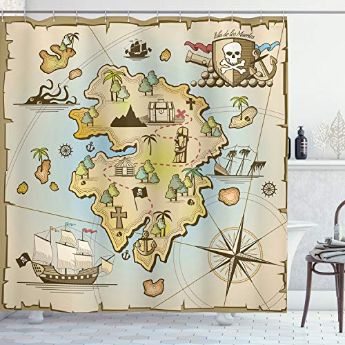Ambesonne Island Map Decor Collection, Cartoon Treasure Island with Pirate Ship Chest Kraken Octopus Nautical Kids Playroom Decor, Polyester Fabric Bathroom Shower Curtain Set with Hooks, Multi
