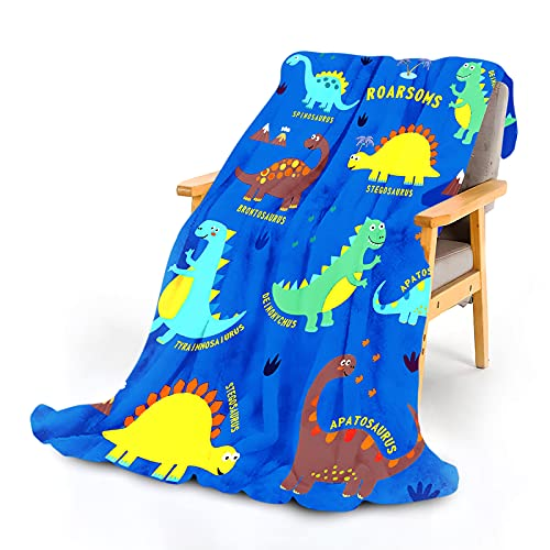 WISH TREE Dinosaur Blanket for Boys, Kids Throw Blanket with Dino Print for Bed Sofa Couch, 50x60...