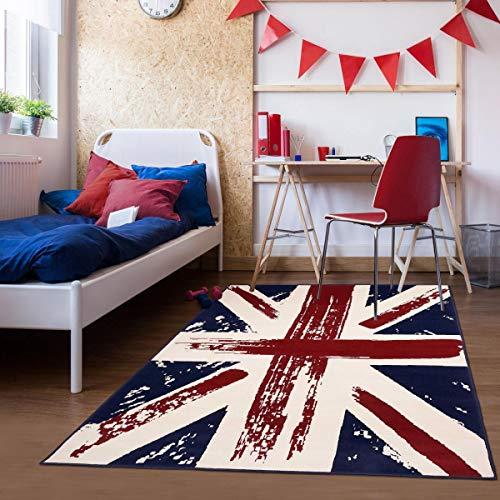 UN AMOUR DE TAPIS - Tapis Chambre Anglais AF cintage Rouge, Bleu, Blanc - 60 x 110 cm - Tapis Enfant 4694