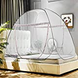 Omont Pop Up Mosquito Net Tent with Bottom, Folding Design for Bedroom and Outdoor Trip, Finest Holes Anti Mosquito Bites, Easy to Install and Wash for Twin to King Size Bed (79 x71x59 inch,Brown)
