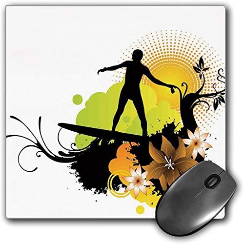 Mouse Pad Gaming Funcional Decoraciones Hawaianas Alfombrilla de ratón Gruesa Impermeable para Escritorio Diseño de Surf Atleta Cultura Juvenil Mar Deportes acuáticos Olas Alegría bajo el Sol Base de