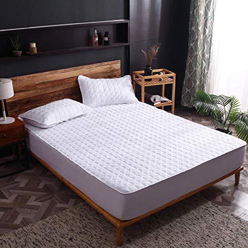 HPPSLT Protector de colchón de Rizo algodón y Transpirable Sábana de una Sola Pieza de algodón Todo Incluido a Prueba de Polvo-Blanco Rejilla Grande_200x220cm
