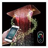 LED Musique Bluetooth Tête de Douche Haute Pression Pommeau de Douche Or Rose Pommeau Douche Acier Inoxydable Monté au Plafond...