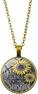 NecklacesVintage Sunflower Cabochon Glass Chain Necklace Jewelry - Silver Daily Life Travel Shopping Dating Necklace for Women