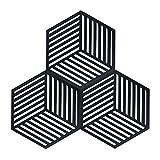 Coomazy 3pcs Untersetzer für Heiße Töpfe und Pfannen, Sillicone Topf Inhaber Pads auch für Küche Löffel Sich ausruhen Matte (Hexagon-Streifen: 160x138x8mm, Schwarz)
