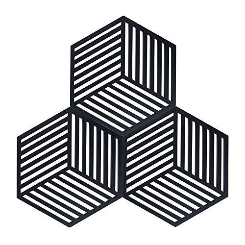 Coomazy 3pcs Untersetzer für Heiße Töpfe und Pfannen, Sillicone Topf Inhaber Pads auch für Küche Löffel Sich ausruhen Matte (Hexagon-Stripe: 160x138x8mm, Schwarz)