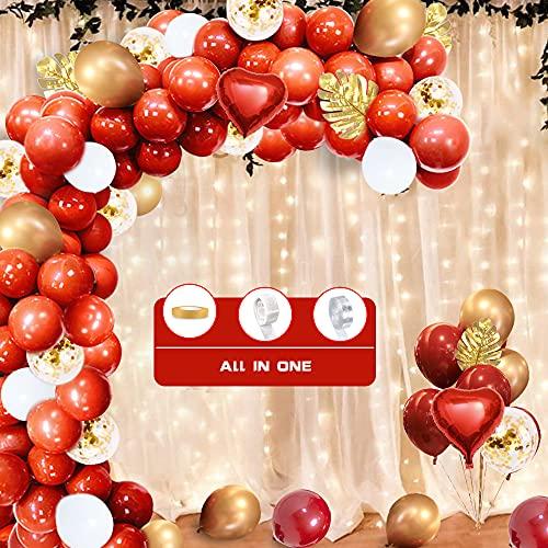 Rosso e Oro Palloncini Arco Ghirlanda,110pz Palloncini Bianchi Rossi Foglie Di Palma Bordeaux Palloncini Metallici Dorati Palloncini Coriandoli Decorazione per Ragazze Donne Compleanno, Matrimonio