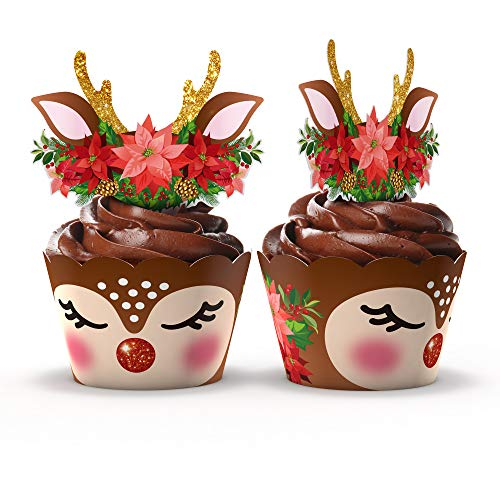 Christmas Reindeer Rudolph Cupcake Wrappers and Toppers by Funky Fledgling- 24 Set - Christmas party decorations (Christmas Deer)