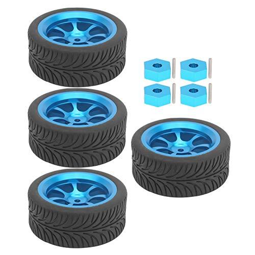 VGEBY Neumático RC, 4 Piezas de Llantas metálicas de Control Remoto con Adaptador Hexagonal para Wltoys 144001 1/14 RC Car