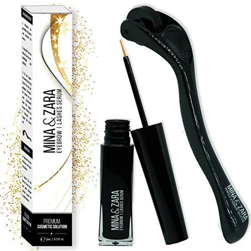 Mina & Zara | Augenbrauen + Wimpern Serum inkl. Dermaroller Zusätzliche Stimulierung für schnelles Wachstum