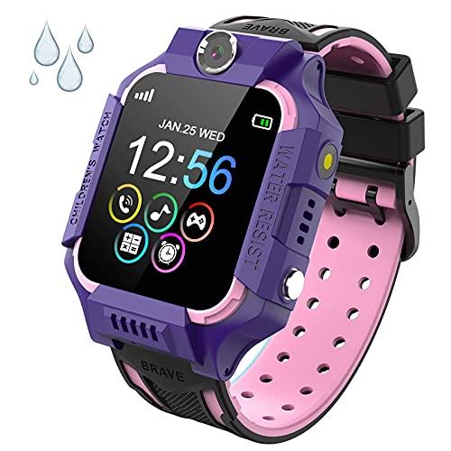 PTHTECHUS Reloj Inteligente Niño de Podómetro, Impermeable Smartwatch Niños con 14 Juegos SOS Llamada MúSica Linterna Cámara Despertador Regalos para niños de 4 a 12 años (Y19-Purple)