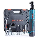 """S-LONG Cordless Ratchet Wrench Set, 3/8"""" 400 RPM 12V Power Electric Ratchet Driver with 12 Sockets, Two 2000mAh Lithium-Ion Batteries and 60-Min Fast Charge"""
