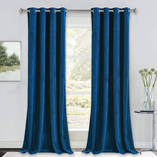 NICETOWN Blue Velvet Curtains 96 inches, Media Movie Theater Room Decor, Soundproof Velvet Woven Home Theater Grommet Top Drapes for Living Room (1 Pair, W52xL96 inches)