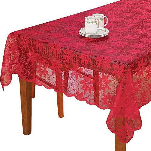 """Sourcemall - Mantel de Encaje Floral, Color Rojo, 60"""" X 83"""" Rectangle"""