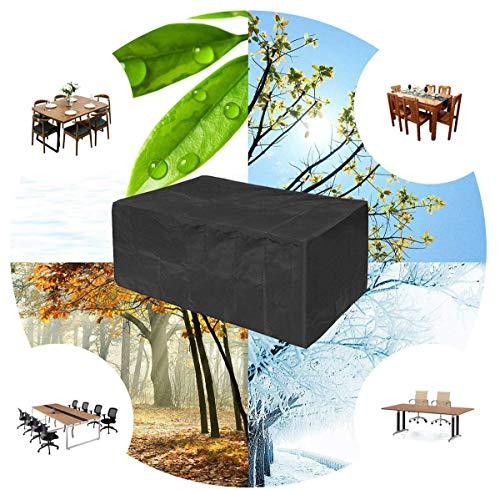 Funda para muebles de patio, 420D, tela Oxford, resistente, impermeable, transpirable, para muebles de jardín, fundas de ratán impermeable, color negro, rectangular (tamaño: 250 x 250 x 90 cm)
