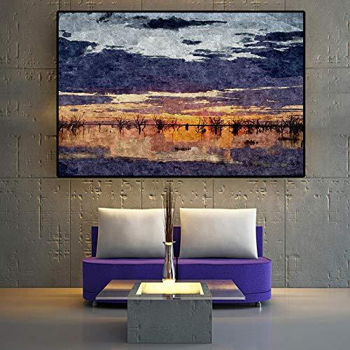Olieverfschilderij canvas achtergrond muur opknopingAbstract Sunset Lake Lscapecinavian Nordic KidRoom rGeschikt voor woonkamer in galerij kamer met loopbrug trappen