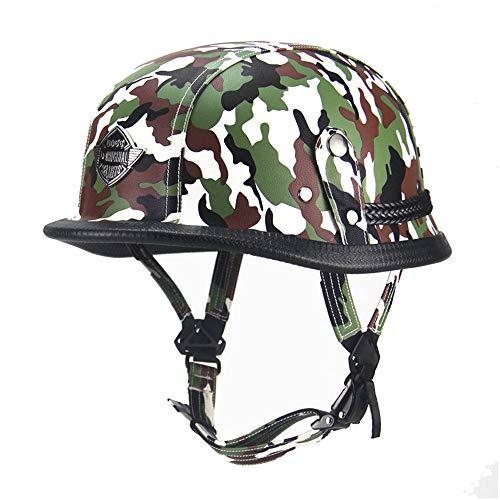 JIE KE Casque moto Harley casque rétro en cuir Allemagne camouflage locomotive Prince casque fait main bonnet en cuir (Couleur : Green)