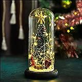 Árbol de Navidad en cúpula de vidrio Árbol de Navidad en miniatura con luces LED y base de madera Decoración de escritorio navideña para la oficina en casa Bar Decoración de fiesta de año nuevo
