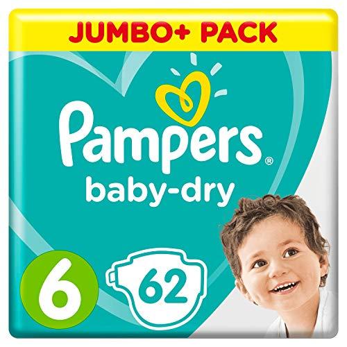 Pampers Baby-Dry Größe 6, 62 Windeln, 13-18 kg, Jumbo+ Pack, Luftkanäle für atmungsaktive Trockenheit über Nacht