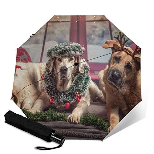 Sombrero de Papá Noel divertido para perros y mascotas, paraguas automático de triple pliegue