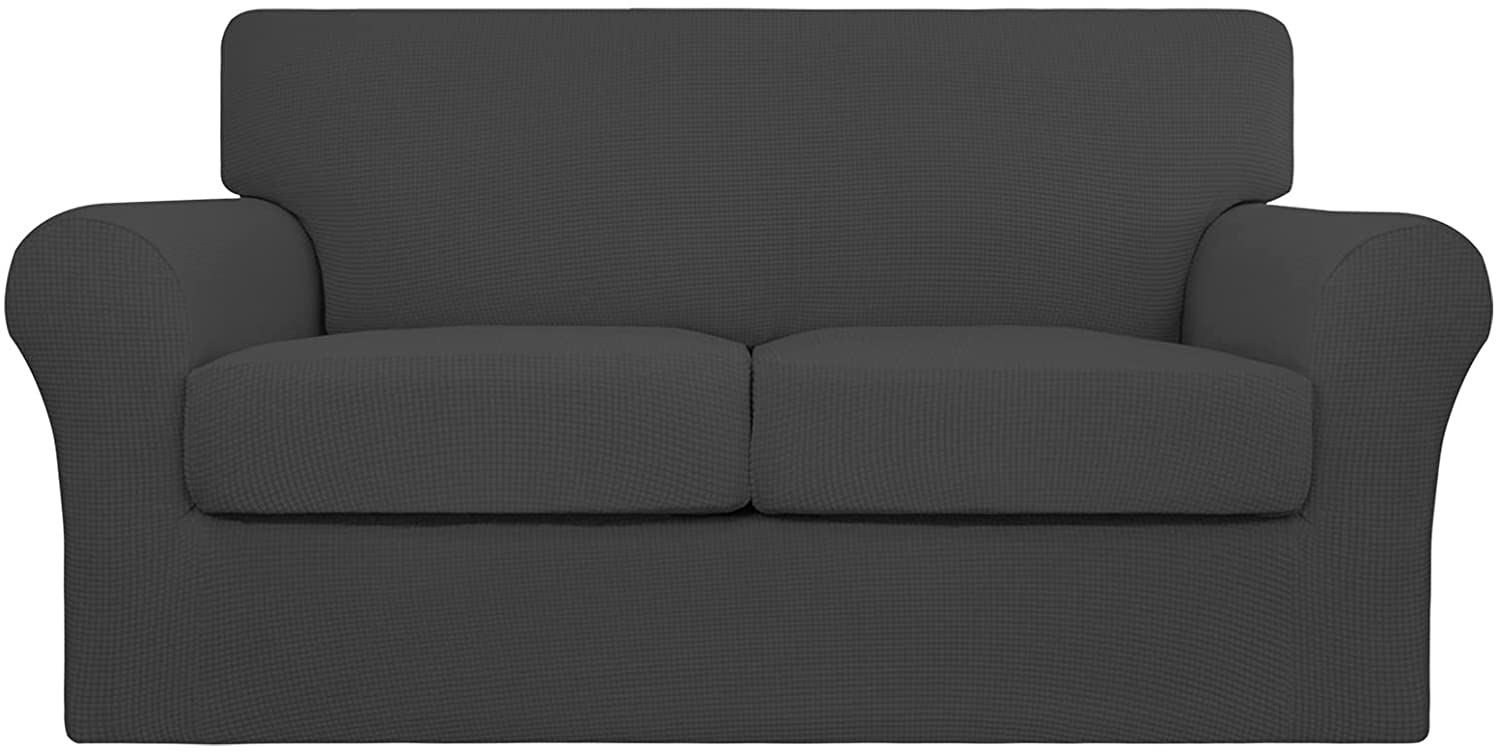 Easy-Going 3 Pieces Stretch Couch Cover Sofa Cover for Dogs Washable Sofa Slipcover for 2 Separate Cushion Couch Spandex Jacquard Fabric Elastic Furniture Protector for Pets,Kids(Dark Gray, Loveseat)