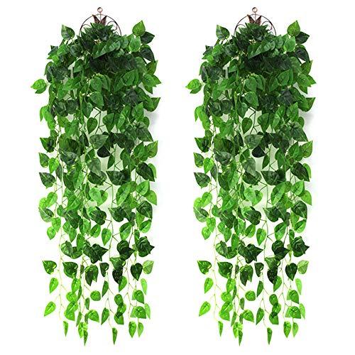 LUCY WEI 2 Stück Efeugirlande 1m Lang Künstliche Hängend Pflanzen Künstlicher Efeu für Hochzeit Familie Garten Deko (Scindapsus)