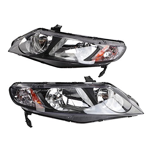 2PC Driver & Passenger Headlights Headlamps Set Replacement Compatible with Honda Civic DX/EX/GX/Hybrid/LX/Si Sedan 2006 2007 2008 2009 2010 2011