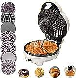 CJDM Mini Waffle Maker Sandwich Maker Home Waffle Maker Máquina de Desayuno Multifuncional con 7 moldes para Hornear Diferentes para Hacer Rollos de Huevo/Muffins/donas/Pasteles, etc.con 7