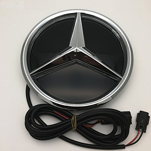 Cszlove Car Front Grilled Star Emblem LED Illuminated Logo Works with Mercedes Benz 2016-2017 E200L E300L E320L Center Front Badge Lamp Light White - Mirror Surface