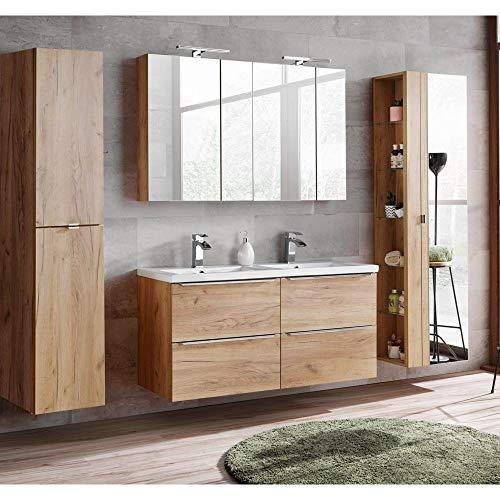 Lomadox Komplett Badmöbel Set mit Doppel-Waschtisch inkl. Doppel-Keramikbecken 120cm, Wotaneiche & Hochglanz weiß, inkl. LED-Spiegelschrank