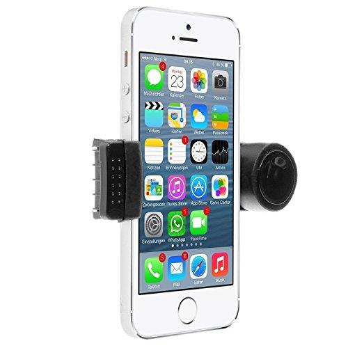 Soporte para teléfono móvil, ajustable, se coloca en la ventilación del coche, de 8,9 a 16 cm, para iPhone 3,4,4S, 5,5S, 5C, Samsung Galaxy, Nokia, HTC, Blackberry, color negro